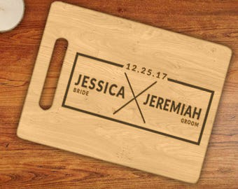 Personalized - Custom Bride & Groom Married Date Typography Framed Engraved Cutting Board