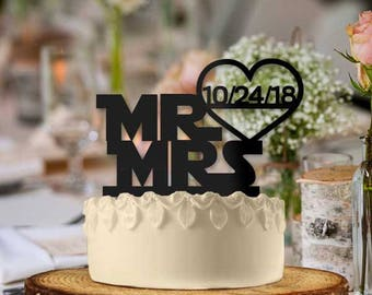 Personalized Starwars Text Style with Date Cake Topper