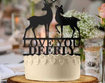 Love You Deerly Buck Doe Deer Couple Wedding Cake Topper