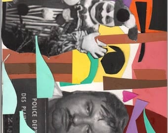 JOHN WAYNE GACY abstract handmade art collage cut out cut and paste print