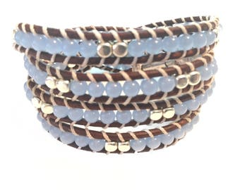 Beautiful 4 wrap leather bracelet with semi precious stones and silver accents.