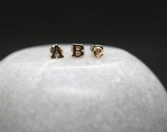 14K Solid Gold Initials Earring.Alphabet Stud Earring.Letter Earrings.Pair
