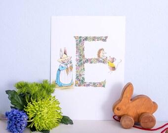Hand illustrated nursery print- Letter E