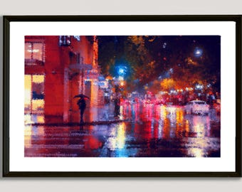 Seattle Rainy Day, painting, wall, print, decorative, home, office, restaurant, decor, apartment, art, illustration, picture, image, color