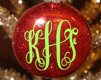 Personlized Christmas Ornament; Initial Christmas Ornament; Monogrammed Glitter Christmas Ornament;