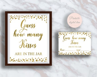 Guess How Many Kisses, Bridal shower games, Kisses Guessing Game, Gold confetti, Bachelorette, Wedding activities, Fun shower activity s2br