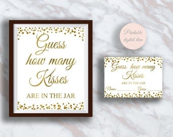 Guess How Many Kisses, Funny Bridal shower games, Hershey kisses game, Gold confetti Bachelorette, Wedding activities, Shower activity s4br