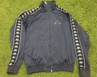Vintage Kappa track jacket striped big logo embroidered Size Small Made in Japan Excellent condition