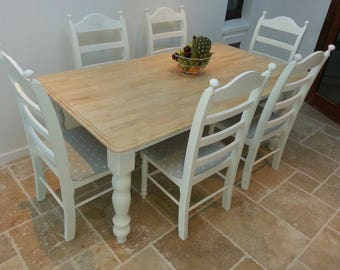 Lovely 6ft x 3ft Shabby Chic Bespoke Table Set