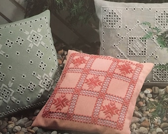 PDF Hardanger Embroidery Pastel Cushion Covers
