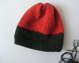 Slouchy beanie. Handmade black red color hat. Classic cotton acrylic knitted spring beanie.