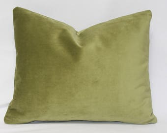 "14 x 18"" Green Velvet Pillow Cover - Designer Fabric - Velvet Pillow Cover - Velvet Accent Pillow - Velvet Throw Pillow"