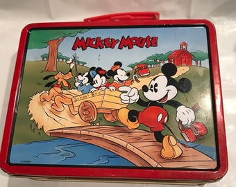 1996 Mickey Mouse Metal lunchbox // disney // collector lunch box //