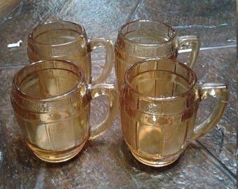 Vintage set of four old carnival souvenirs miniature beer stein/ beer mug