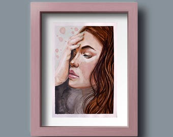 Pink Cheeks Watercolour Portrait Painting of a Woman Original // A4 Painting // Illustration