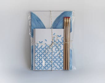 Stationery set - Notebook set - Notebooks and pencils - Writing gift set - Stationery gift - Quote pencils