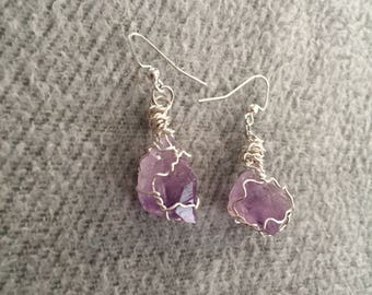 Wire Wrapped Amethyst Crystal Earrings
