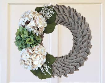 Burlap Petal Wreath with White and Green Hydrangeas and White Blossoms//Swedish Braid Wreath//Fall Wreath//Front Door Wreath
