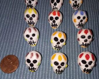 Glass Lampwork Skull Beads Set of 12