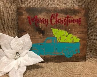 Merry Christmas Truck - Holiday Sign - Christmas Tree