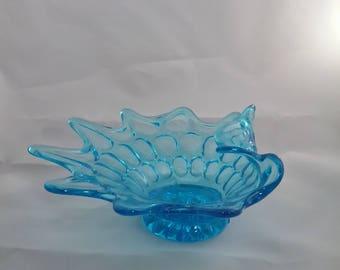 Rare Vintage Fenton  Art Glass 1960's Thumbprint Pattern Colonial Blue Folded Rim  Dish Glass Art Mid Century
