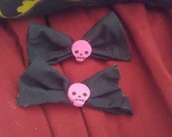 Pink Skull Hair Bow Set