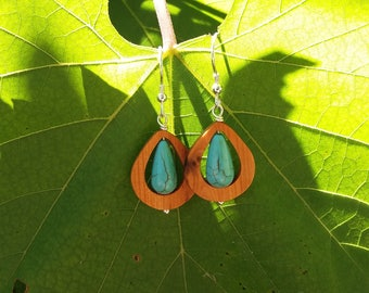 Juniper wood and Turquoise dangle earrings