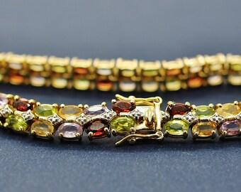 Multi Gemstone Two Tone Bracelet: Sterling Silver Gold Plated Genuine Garnet Peridot Amethyst Citrine Tennis Bracelet