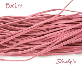 5 cords of 1 m of yarn suede rose