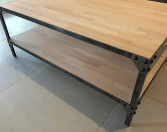 Table coffee steel and wood
