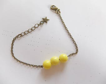 Bracelet 3 lemon yellow ceramic beads