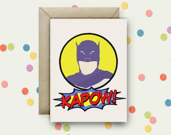 Adam West Batman Pop Art and Quote A6 Blank Greeting Card with Envelope