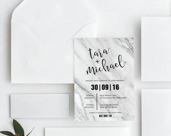 Printable Wedding Invitation | Wedding Invitations | Black & White Marble Wedding | Digital | Wedding Invite