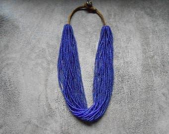 Ethnic chain multi Strand Blue