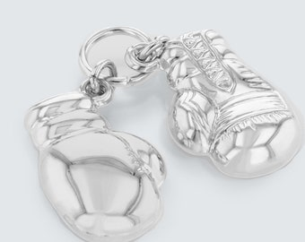 Polished 14K White Gold 3D Boxing Gloves Charm Sports Pendant