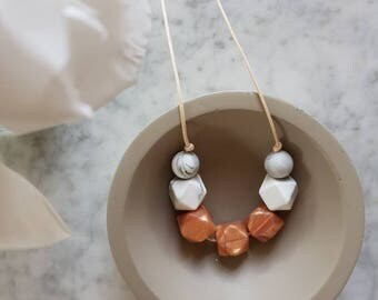 Rose gold + marble sensory necklace