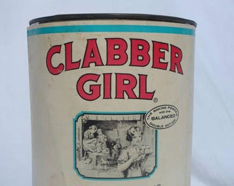 Vintage, Collectable Clabber Girl 5 Lbs Baking Powder Tin 47808 Hulman & Company