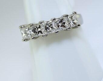 Platinum Princess Cut Diamond Wedding Band. Size 7.5