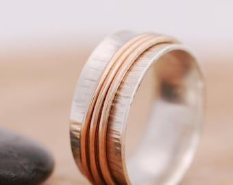 Sterling Silver & 14K Gold Filled Spinner Ring|Silver Spinner Ring|Gold Spinner Ring|Anxiety Ring|Fidget Ring|Meditation Ring|Worry Ring