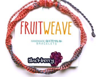 BLACKBERRY DNA BRACELET, Guatemalan Bracelets, Handmade bracelets, colorful bracelets, fruit based, fruit weave, friendship bracelets.