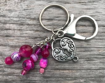 Keychains for Women, Love Keychain, Lock Keychain, Purse Charm for Handbags, Beaded Bag Charm, Beaded Keychain, Keyrings for Her, Valentines