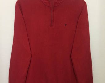 Vintage Tommy Hilfiger Knitwear Half Zipper Small logo Sweatshirt Small Size