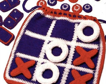 Crochet Tic Tag Toe/Checkers/Dominos Game Bag, travel game, easy storage, soft and safe, custom