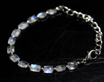 "Natural Rainbow Moonstone Baguette Faceted briolette Strand  Bracelet 4"" Inches Strand, Size- 4X6 MM Approx"