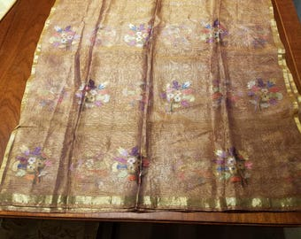 Vintage silk chiffon gold-thread embroidered wrap