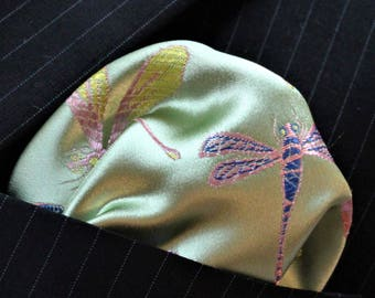 Hankie Pocket Square Handkerchief Iridescent Dragonfly Mint Green - UK Made