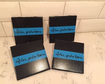 Police thin blue line coasters Set of 4