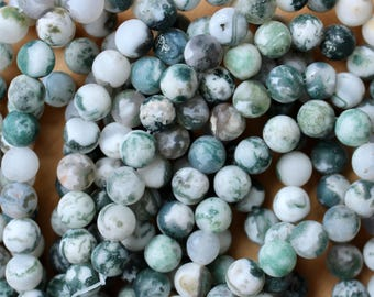 8mm Tree Agate beads, full strand, natural tree agate, natural stone beads, round, 80007