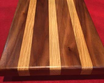 Walnut and oak stripe cutting board