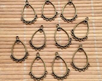 Set of 20 connectors chandelier drop bronze earrings